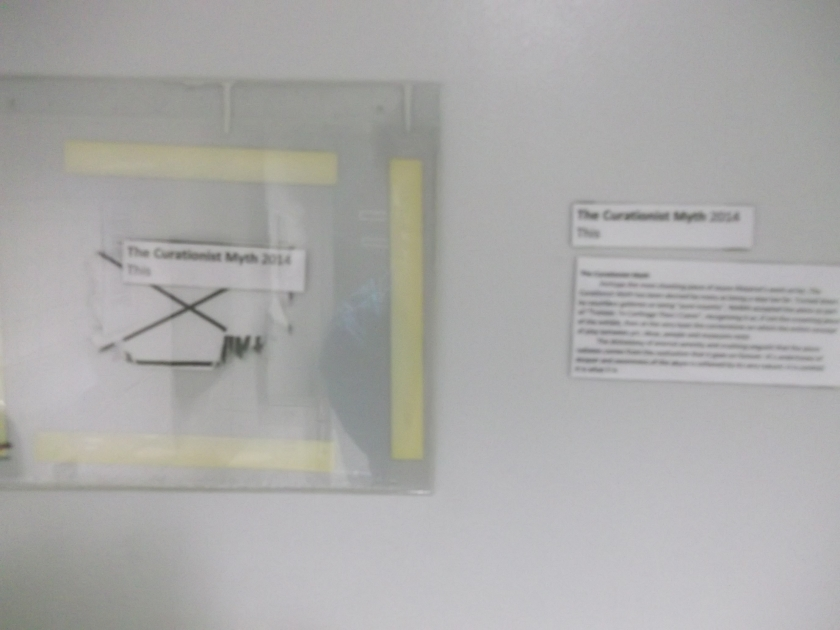 A blurred photo of The Curationist Myth, Joyce-Ahearne_s most controversial work (gallery information reproduced below)